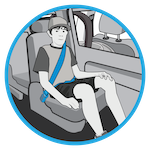 line drawing of a child in a seat belt