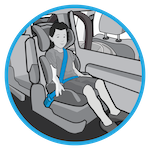 line drawing of a child in a booster seat