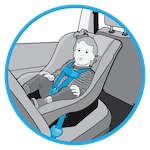 line drawing of child in a rear-facing car seat