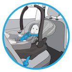 line drawing of an infant in a rear-facing only car seat